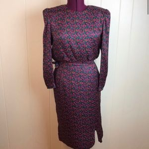 Vintage 80s/90s Silk Abstract Floral Print Dress